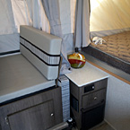 Clipper 1285SST Storage and End Table Between the Dinette and Bunk End