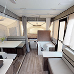 Viking V-Trec V3 Back to Front Showing the Cooktop, Dinette Slideout, King Size Bunk End, Gaucho Couch, Entry Door and Modular Cassette Potti/