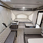 Clipper 107LS Back to Front Cooktop, Sink, Entry Door, Storage, Dinette Seating, Gaucho Couch and Queen Bunk Tent End
