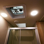 Ceiling Vent Fan in Bathroom, Skylight Shown Above Shower