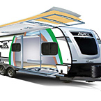 Apex features the combination of environmentally friendly Azdel Onboard RV composite panels and Alumicage Construction to maximize towability. May Show Optional Features. Features and Options Subject to Change Without Notice.