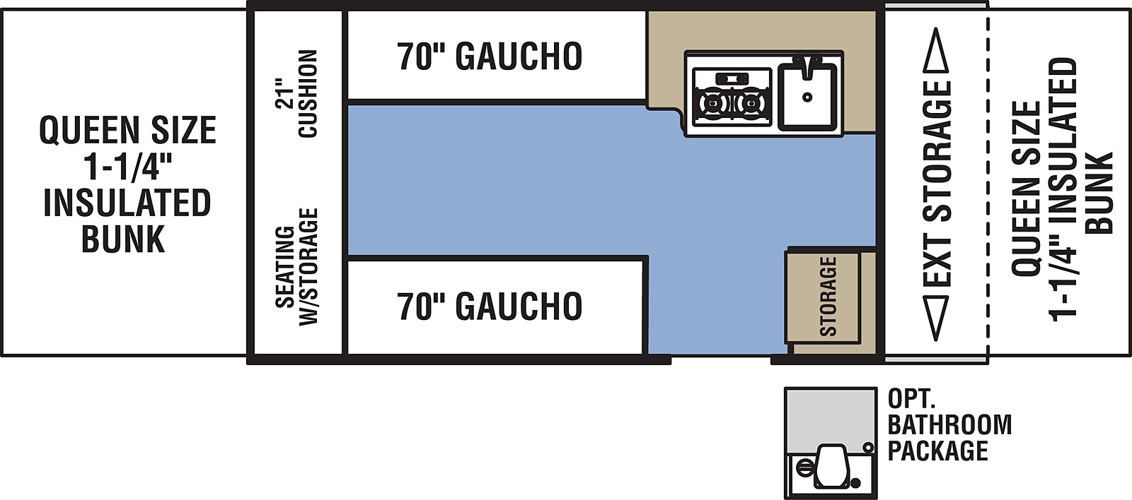 Clipper 128LS floorplan. The 128LS has no slide outs and one entry door.